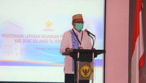 Kepala BPK Perwakilan Gorontalo, Dwi Sabardiana memberikan sambutan di Auditorium BPK Perwakilan Provinsi Gorontalo (19/3/2021)